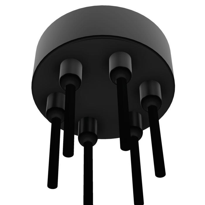 059.6/.. - ROSETTE for textile cable, rosace apparent - boîtier de connection avec arrêt de câble pour 6 câbles textile