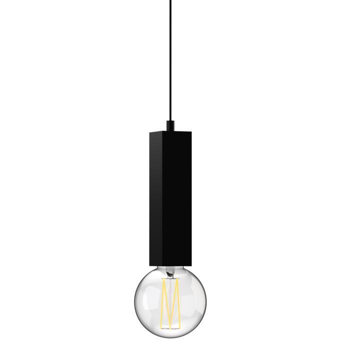 1843.E27.250/.. - MERO PENDEL, hanglamp - vierkant - met 1,5m textielkabel en trekontlasting aan fitting