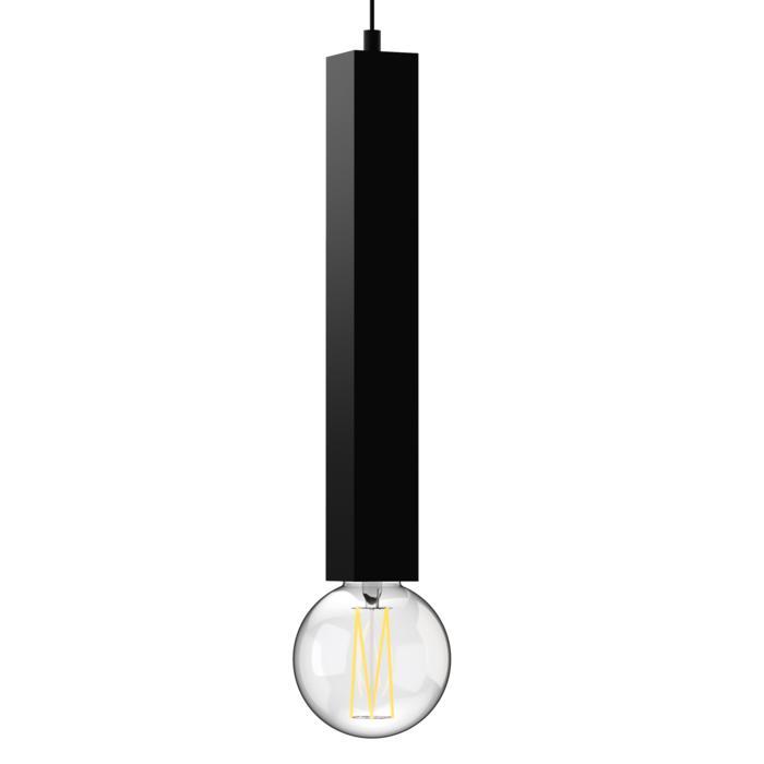 1843.E27.450/.. - MERO PENDEL, hanglamp - vierkant - met 1,5m textielkabel en trekontlasting aan fitting