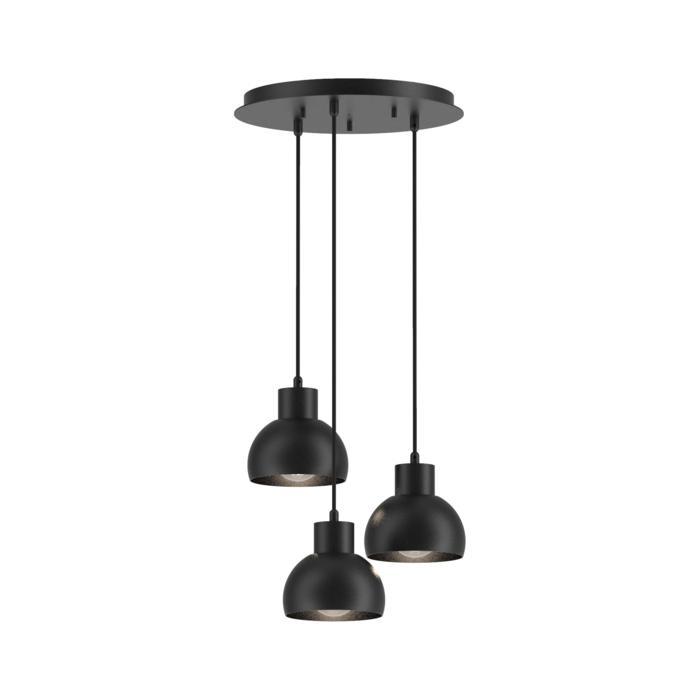 1856.E27.3/.. - OLIVIA, hanglamp met bolgewricht - stang inkortbaar - met 3x Olivia op basis Rondobox