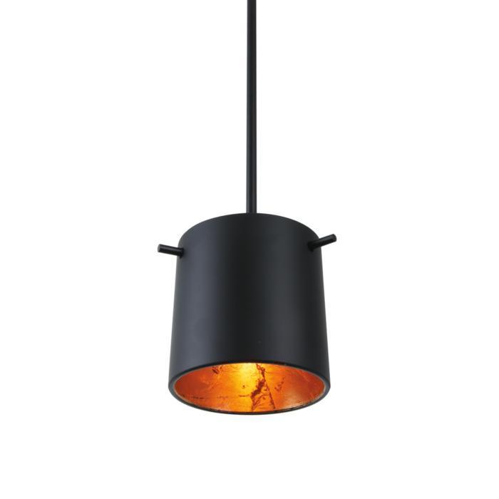 4028XLED.B3/.. - GUILIA C, hanglamp met bolgewricht - stang inkortbaar - glas zwart/goud inbegrepen