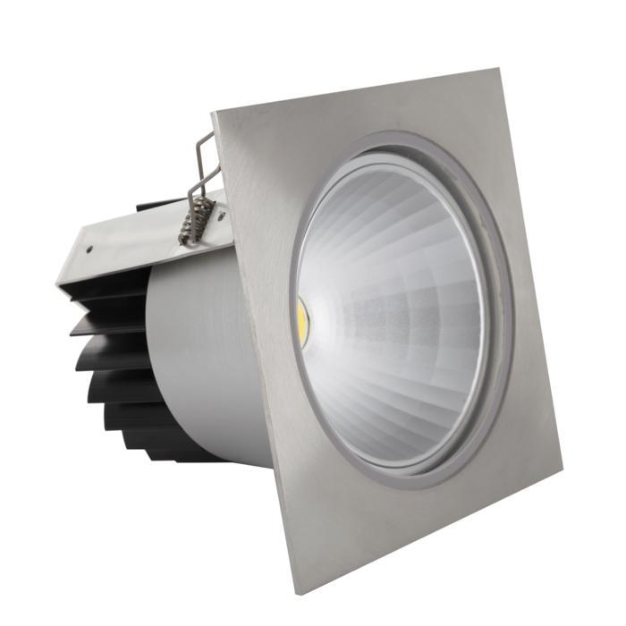 3377/.. - FLUX INOX 316 Ø137, inbouwspot - vierkant - vast - down - met helder glas - met LED driver