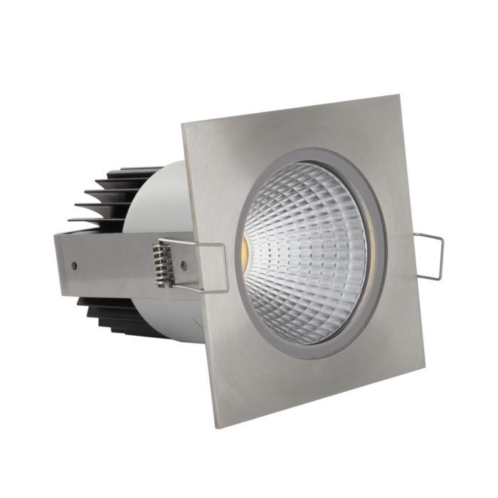 3376/.. - FLUX INOX 316 Ø92, inbouwspot - vierkant - vast - down - met helder glas - met LED driver