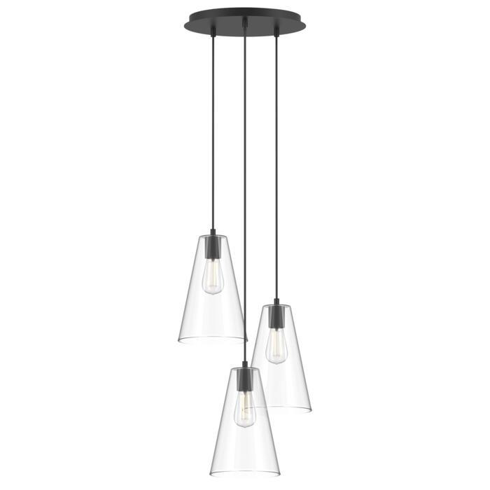 4616.G.E27/.. - ICONIC, hanglamp - met 3x 1,5m textielkabel op basis Rondo Box