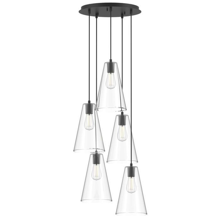 4617.G.E27/.. - ICONIC, hanglamp - met 5x 1,5m textielkabel op basis Rondo Box