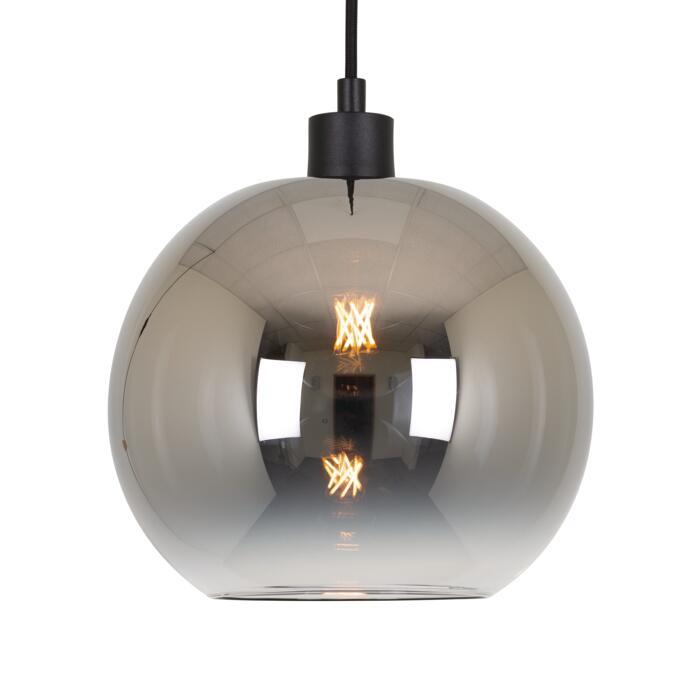 4953.C.E27.SH/.. - Moby Sh Degrade Steel, hanglamp - met 2m textielkabel en trekontlasting aan fitting
