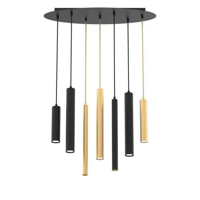 4977.7.LED/.. - BACH, hanglamp - ovale basis met 7 pendels - met LED driver