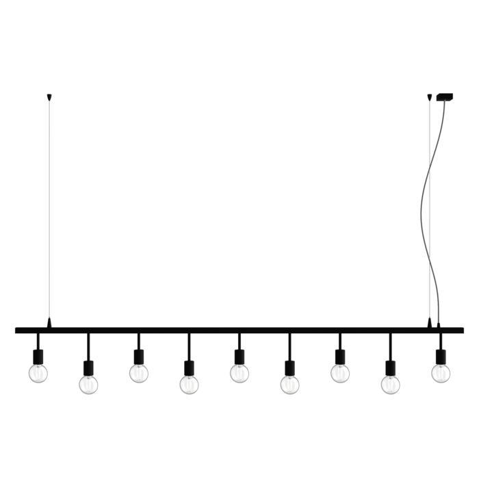 5019.9/.. - MAESTRO, hanglamp met kabel en hoogteregelaar - op balk met 5 x fitting E27 op tige 7,5cm en 4 x fitting E27 op tige 15cm