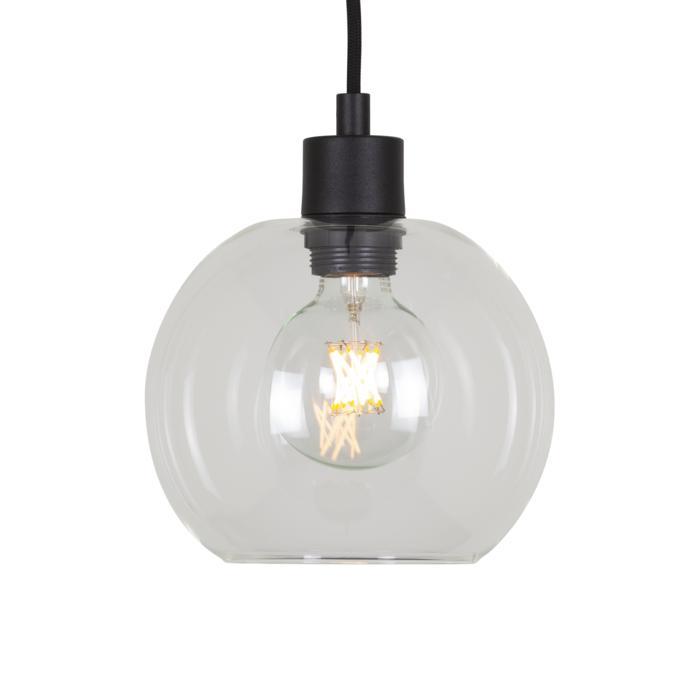 5064.B.E27.SH/.. - MOBY SH TRANSPARANT, hanglamp - met 2m textielkabel en trekontlasting aan fitting