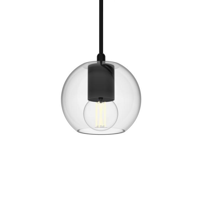 5089.A.E14/.. - MOBY TRANSPARANT, hanglamp - met 2m textielkabel en trekontlasting aan fitting