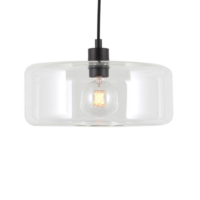 5115.Q/.. - MANON Q TRANSPARANT, hanglamp - rond - met 2m textielkabel en trekontlasting aan fitting