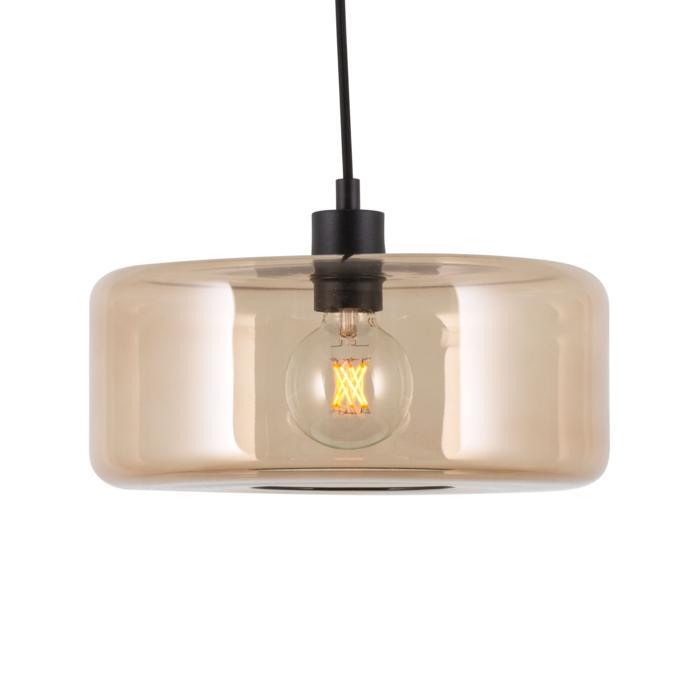 5121.Q/.. - MANON Q BRONZ, hanglamp - rond - met 2m textielkabel en trekontlasting aan fitting