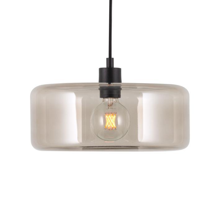 5124.Q/.. - MANON Q STEEL, hanglamp - rond - met 2m textielkabel en trekontlasting aan fitting