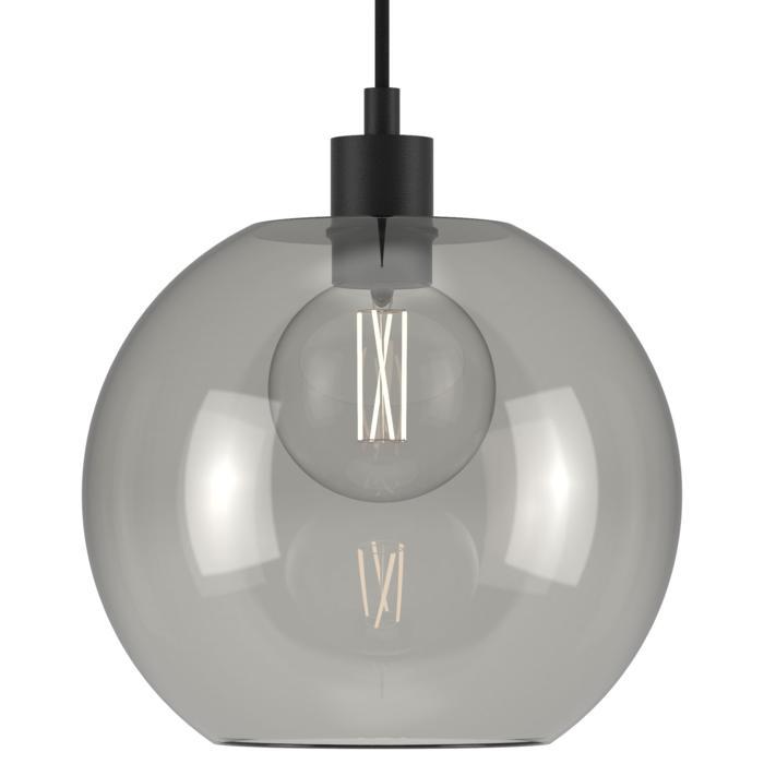 5128.C.E27.SH/.. - MOBY SH STEEL, hanglamp - met 2m textielkabel en trekontlasting aan fitting