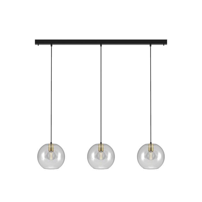 5150.3C.E27/.. - MOBY 3 GLASS, hanglamp - met 3x Moby Ø250 - 1,5m textielkabel