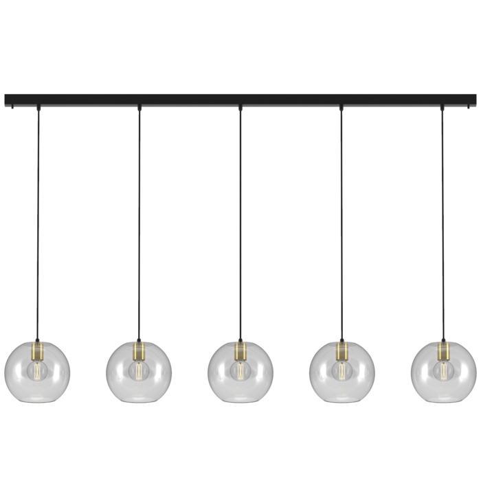5150.5C.E27/.. - MOBY 5 GLASS, hanglamp - met 5x Moby Ø250 - 1,5m textielkabel