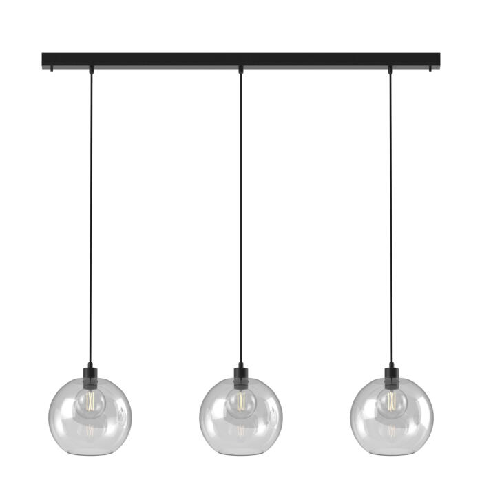 5151.3C.SH/.. - MOBY SH GLASS, hanglamp - met 3x Moby Ø250 - 1,5m textielkabel