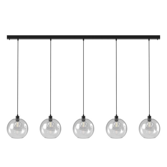 5151.5C.SH/.. - MOBY SH GLASS, hanglamp - met 5x Moby Ø250 - 1,5m textielkabel