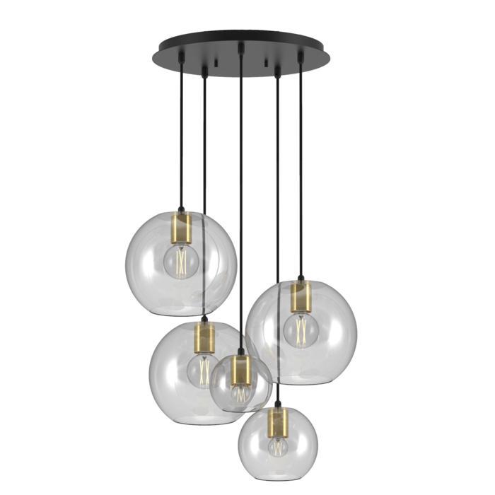 5152.5.E27/.. - MOBY GLASS, hanglamp - met 3x Moby Ø250, 1x Moby Ø180 en 1x Moby Ø140 - 1,5m textielkabel