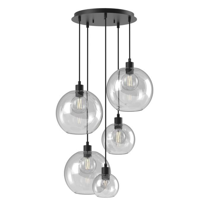 5153.SH.5/.. - MOBY SH GLASS, hanglamp - met 3x Moby Ø250, 1x Moby Ø180 en 1x Moby Ø140 - 1,5m textielkabel