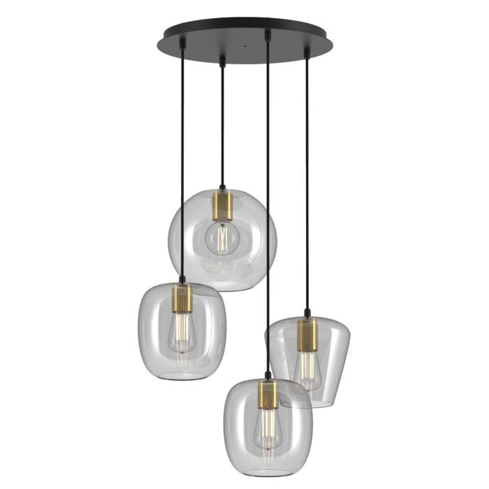 5154.4.E27/.. - MOBY GLASS MIX, hanglamp - combinatie 4x Moby - 1,5m textielkabel