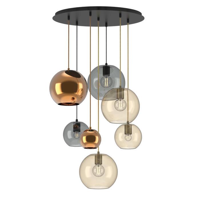5155.7.E27/.. - MOBY GLASS MIX, hanglamp - combinatie 7x Moby - 2m textielkabel glitter