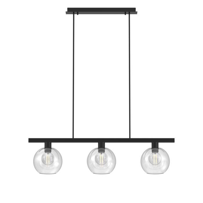 5156.3B.E27/.. - MOBY GLASS, hanglamp met bolgewricht - stang inkortbaar - 3x Moby Ø180