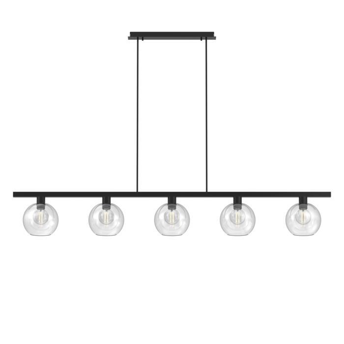 5156.5B.E27/.. - MOBY GLASS, hanglamp met bolgewricht - stang inkortbaar - 5x Moby Ø180