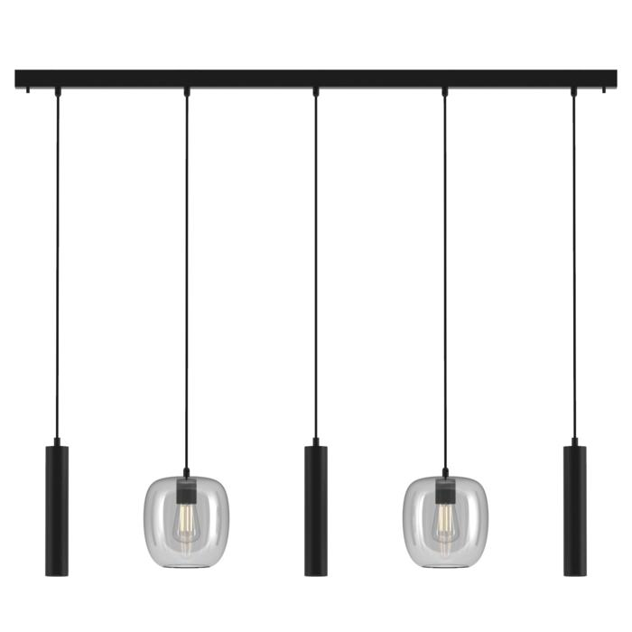 5157.2E.3M/.. - MOBY GLASS, hanglamp - combinatie 2x Moby en 3x Mero - 1,5m textielkabel