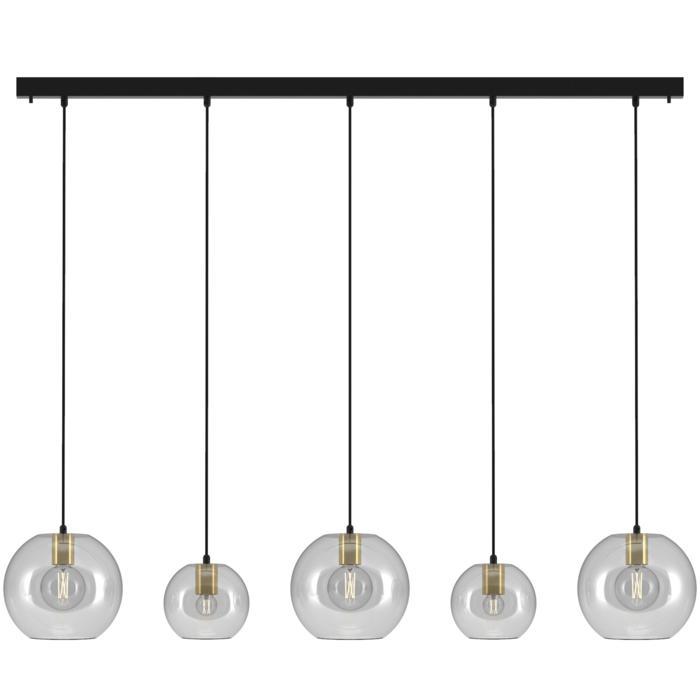 5159.2B.3C/.. - MOBY GLASS, hanglamp - met 3x Moby Ø250 en 2x Moby Ø180 - 1,5m textielkabel