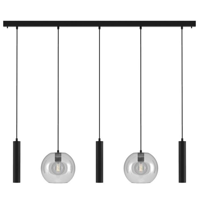 5158.2C.3M/.. - MOBY GLASS, hanglamp - combinatie 2x Moby en 3x Mero - 1,5m textielkabel