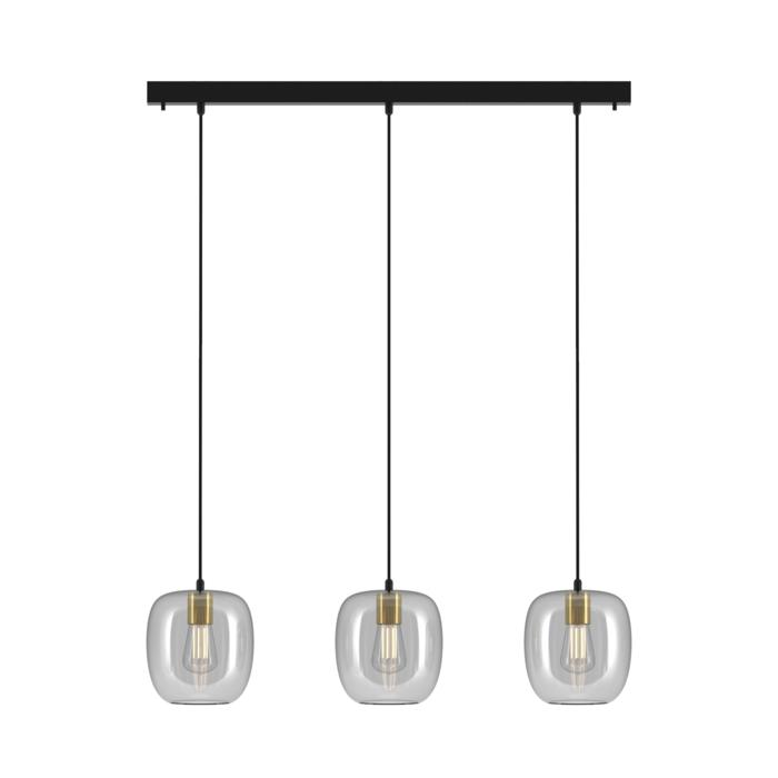 5162.3E/.. - MOBY GLASS, hanglamp - met 3x Moby - 1,5m textielkabel