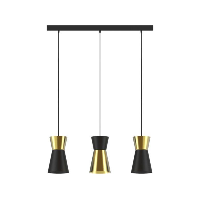 5570.LED/.. - SHAKE 3 LED, hanglamp - down - met 3x 1,5m textielkabel op basis Juba