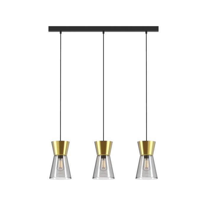 5575.E27/.. - SHAKE 3 GLASS, hanglamp - down - met 3x 1,5m textielkabel op basis Juba