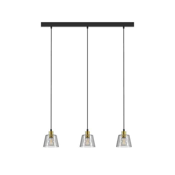 5576.E27/.. - SHAKE 3 GLASS, hanglamp - down - met 3x 1,5m textielkabel op basis Juba