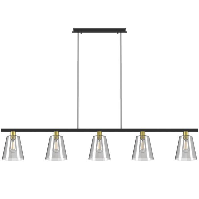5585.E27/.. - SHAKE 5 GLASS, hanglamp met bolgewricht - stang inkortbaar - down