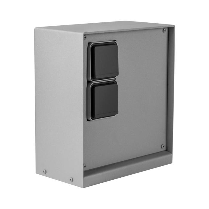 T1189/.. - CONTROL BOX, Connecterende zuil - behuizing met 2 stopcontacten HAGER - ontvanger - draadloze zender - wandzender