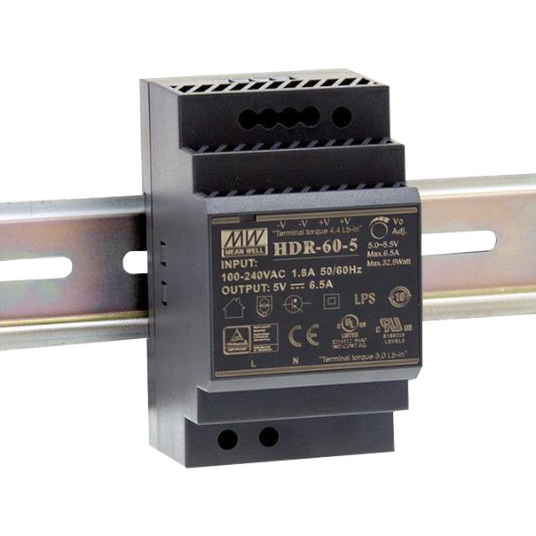 HDR60-24/.. - TRANSFO DIN RAIL, transfo - AC-DC Ultra slim DIN rail power supply; Input range 85-264VAC; Output 24VDC at 2.5A; Pass LPS