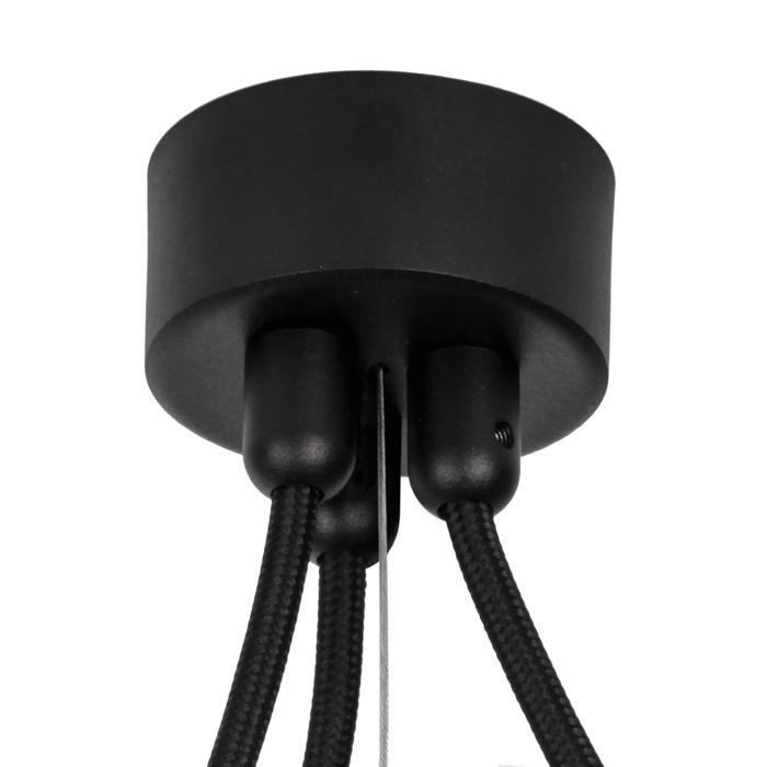 058.3/.. - ROSETTE for textile cable, Aufbaurosette - Aufbaurosette mit Zugentlastung für 3 Textilkabels + Loch für Stahldraht