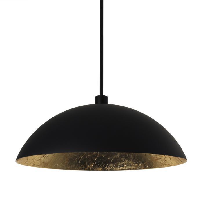 4054/.. - MONA LISA Ø550, hanglamp met bolgewricht - stang inkortbaar - mat zwart buiten - papyrus bladgoud binnenin