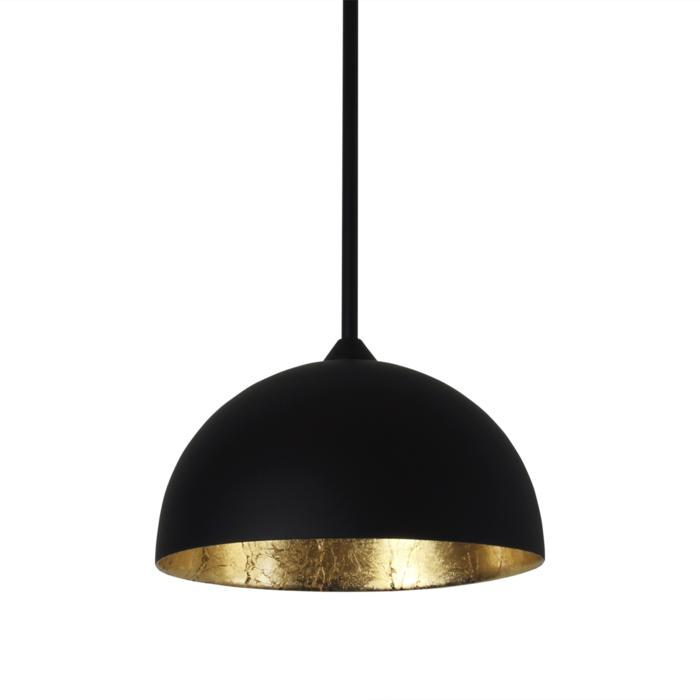 4053/.. - MONA LISA Ø180, hanglamp met bolgewricht - stang inkortbaar - mat zwart buiten - papyrus bladgoud binnenin