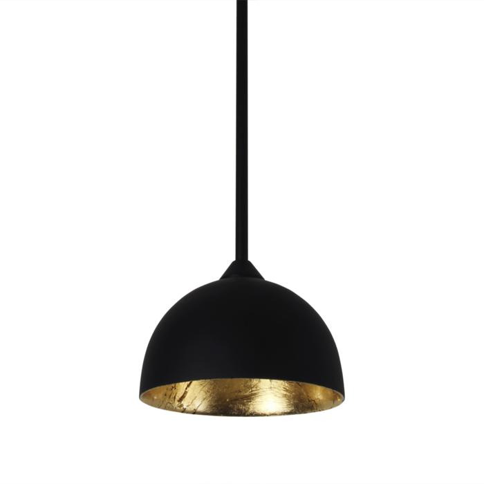 4051/.. - MONA LISA Ø120, hanglamp met bolgewricht - stang inkortbaar - mat zwart buiten - papyrus bladgoud binnenin