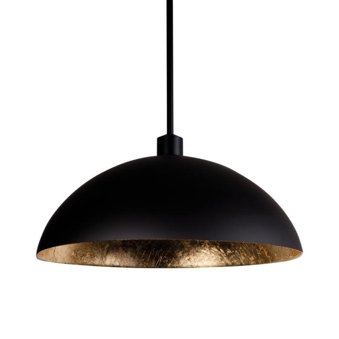 4055/.. - MONA LISA Ø450, hanglamp met bolgewricht - mat zwart buiten - papyrus bladgoud binnenin