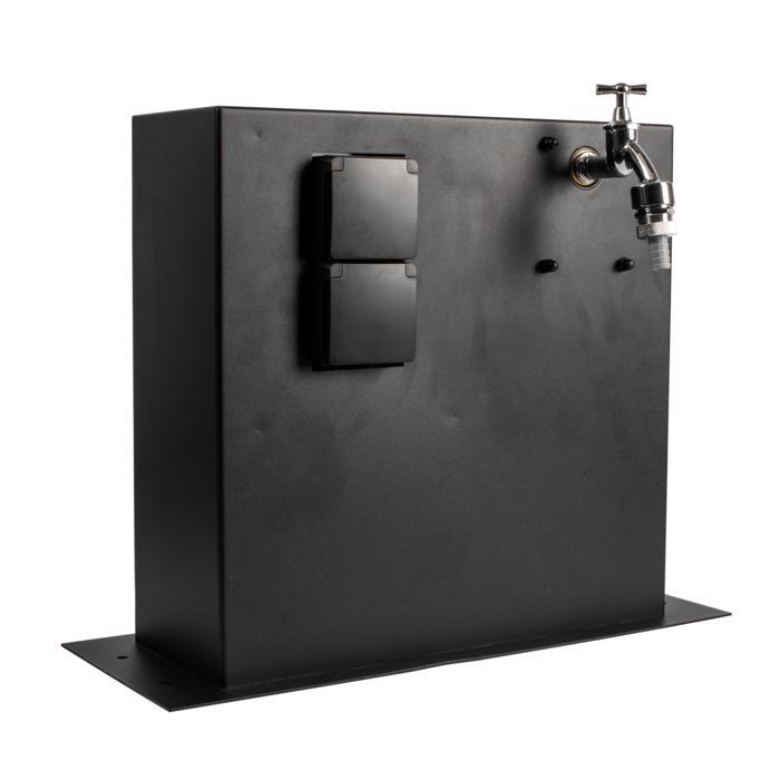 T1225/.. - CONTROL BOX, Connecterende zuil - Aansluitdoos met 2 stopcontacten en aftakkingsdoos voor dubbele dienstkraan - incl. watertoevoer en -afvoer
