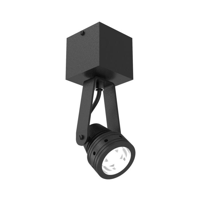 W7001/.. - UFO LED, opbouw plafond -of wandlicht - spot op vierkante basis 70x70 - met glas