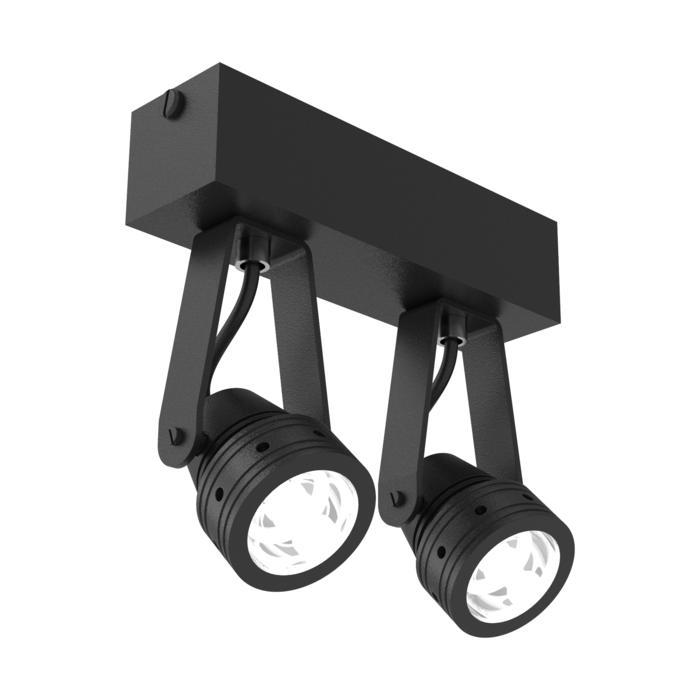 W7002/.. - UFO LED, opbouw plafond -of wandlicht - dubbele spot op balk - met glas