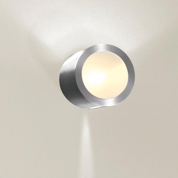 1295CLED/.. - CALIX LED, half in- en opbouw wandlicht - rond - standaard gezandstraald wit glas