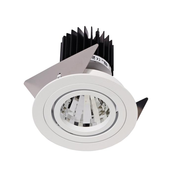 1386.IP20.S2/.. - Ø80 LUXOR.IP20, inbouwspot - rond - richtbaar - down - met led - zonder LED driver