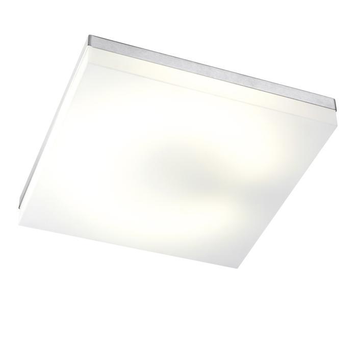 640.400/.. - MONET CARRÉ, plafondverlichting - inox behuizing + polycarbonaat deksel - met electronische ballast