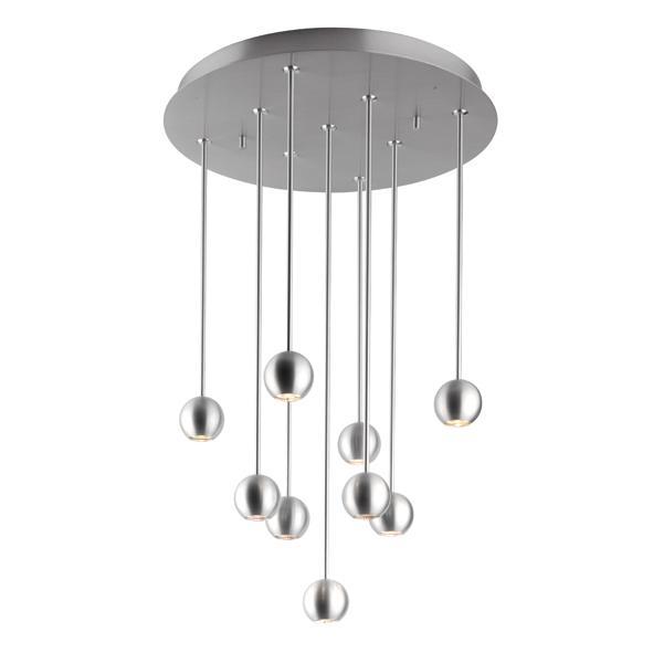 3089/.. - ORKA 9, hanglamp - down - stangen 4x30cm - 4x40cm - 1x50cm  - met LED driver